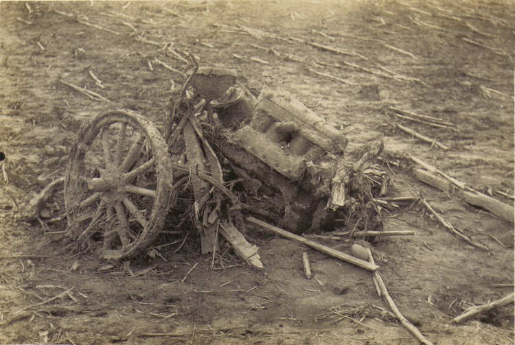 Photo of a destoryed Ford Model T vehicle